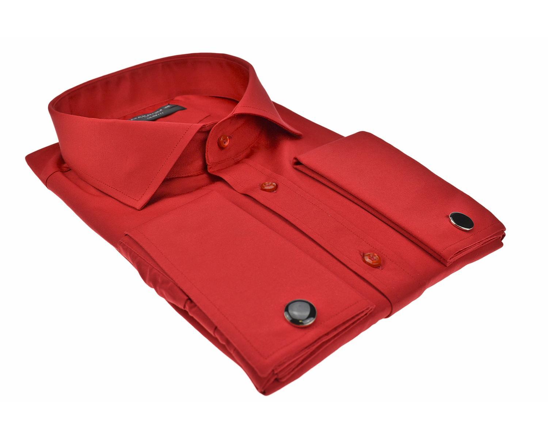 449e1320bf4 ... SL 6111 Punane ühevärviline topeltmansetiga triiksärk itaalia kraega  Meeste triiksärgid