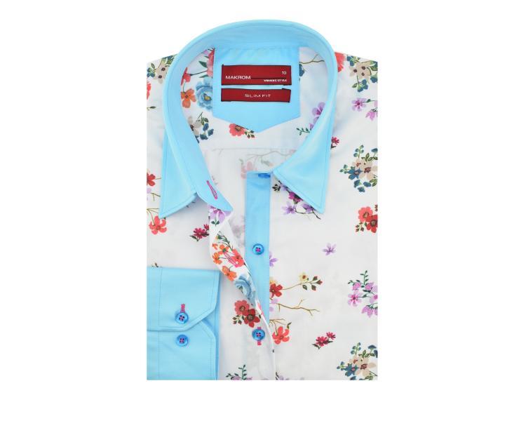 67041e45f44 LL 3265 Valge türkiissinisega lilleline triiksärk Naiste triiksärgid