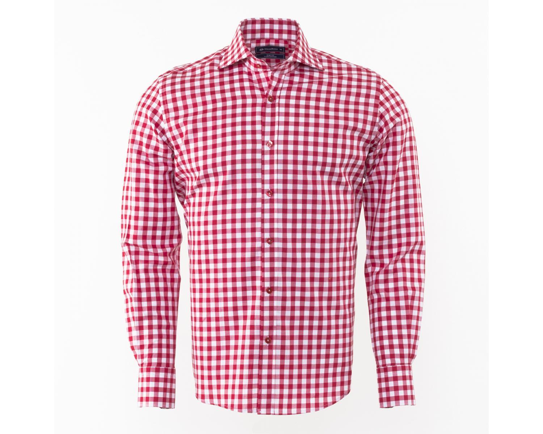 51a373ab61c ... SL 5949 Красная рубашка в белую клетку с длинным рукавом Мужские рубашки  ...