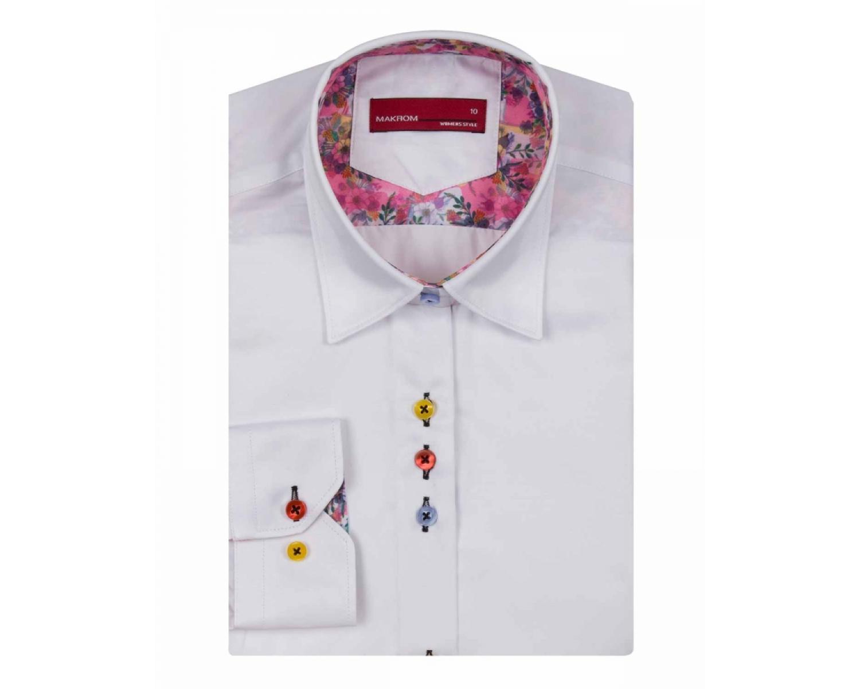 3853122196d LL 3295 Valge lilleliste detailidega triiksärk värviliste nööpidega Naiste  triiksärgid
