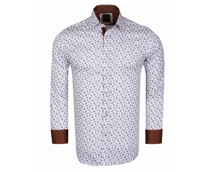 416a8317d56 SL 6098 Valge mustriga puuvillane triiksärk pruunide detailidega Meeste  triiksärgid