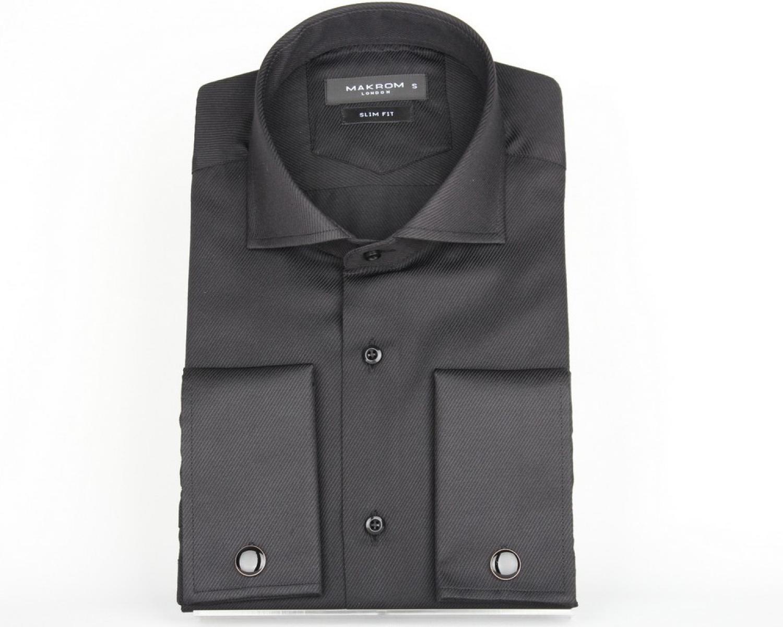 af461bb52c8 SL 6144 Мужская рубашка с микротекстурой и двойными манжетами под запонки  Мужские рубашки